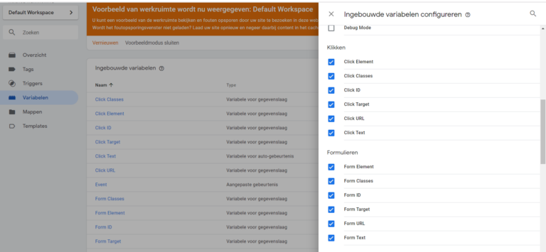 Variabelen activeren in de Tag Manager