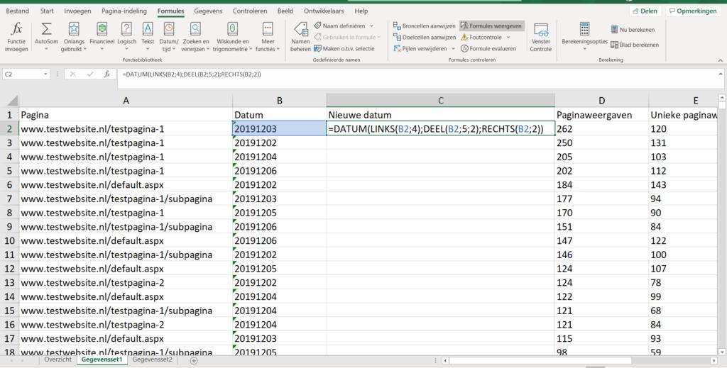 Data uit Excel datum omzetten