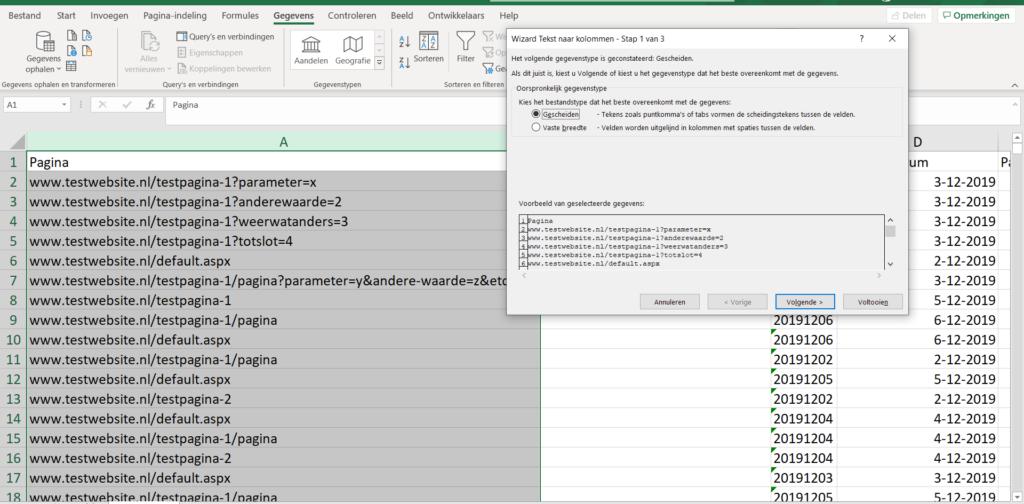 Data uit Excel queryparameter door kolommen te scheiden